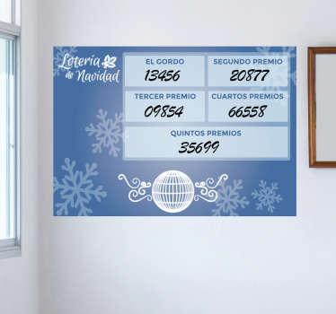 Pizarra velleda adhesiva para marcar cuáles son los números premiados en el gordo de Navidad, ideal para administraciones de lotería.