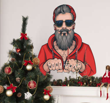 Wandtattoo Flur Hipster Weihnachtsmann XMAS
