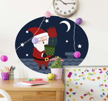 Christmas Wall Sticker showing Santa on Christmas Eve as he delivers gifts! Perfect for your home at Christmas! Sign up for 10% off.