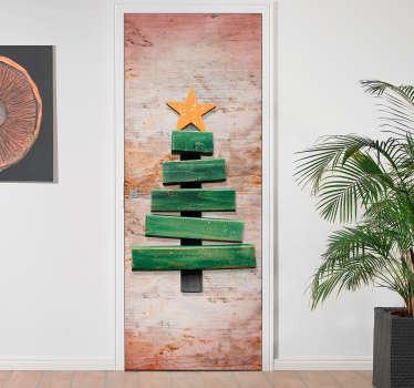 Deursticker houten kerstboom