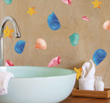 Go under the sea with this fantastic shell and clam themed bathroom sticker! Available in 50 colours.