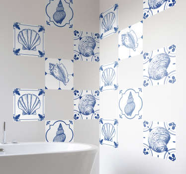 Sticker Salle de Bain Ensemble de Coquillages