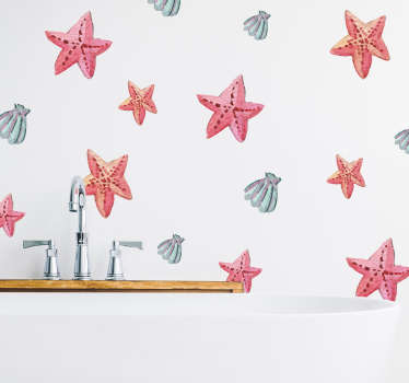 Adesivo murale mare stelle marine e conchiglie