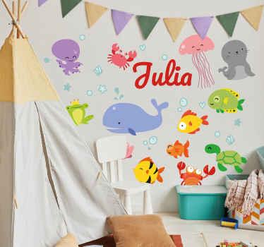 verschiedene Aufkleber Meeresleben Comiclook