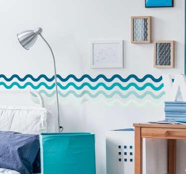 Wandtattoo Bad Linien Wandbordüre Blautöne