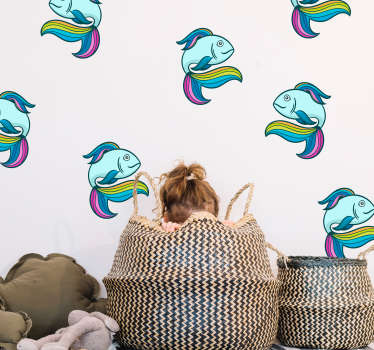 Wandtattoo Tier Neon Fisch bunt