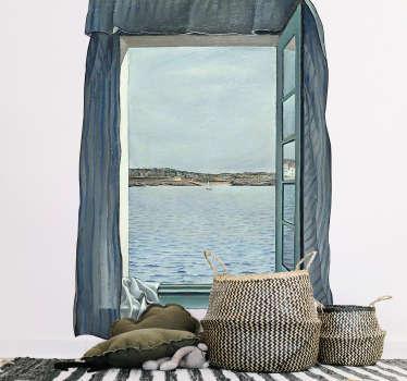 Adesivo murale illusione finestra vista mare