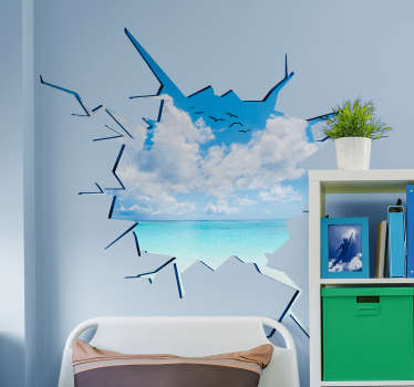 Adesivo murale illusione buco nel muro vista mare