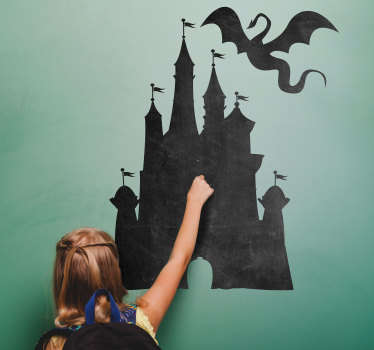 中世の城の黒板ステッカー