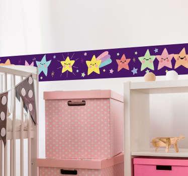 Flerfarvet stjerner væg klistermærke
