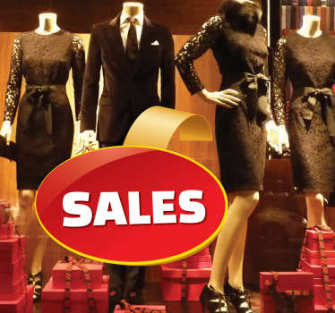 Rød oval salg salg klistermærke