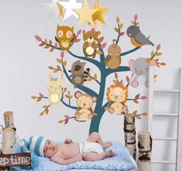 Vinilo pared árbol con animales