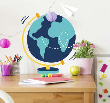 Kinderkamer muursticker wereldbol