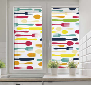 Add some cutlery to your room with this fantastic window sticker! Easy to apply.