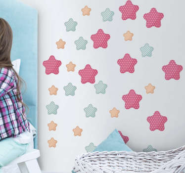 Add some starry decor to your child´s bedroom with this fantastic set of wall stickers! Anti-bubble vinyl.