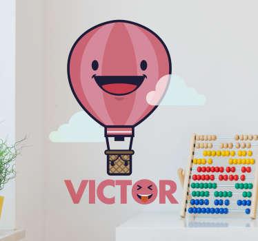Muursticker luchtballon gepersonaliseerd met naam