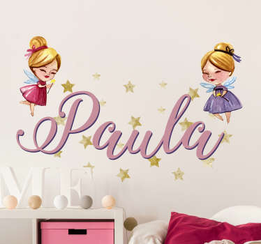 A superb customisable wall sticker, perfect for a child´s bedroom! Write any name on it!  Sign up for 10% off. +10,000 satisfied customers.