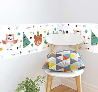 Original cenefa adhesiva para habitación infantil con temática india formada por diferentes animales. Compra Online Segura y Garantizada.