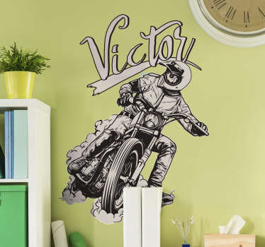 Motocicleta autocolant cu numele personalizat