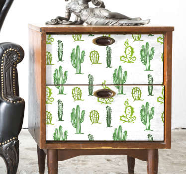 Sticker Plante Meuble Motif Cactus
