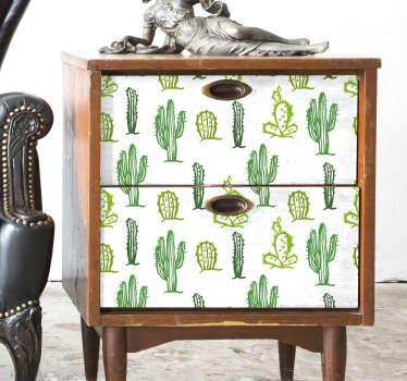 Vinilo dormitorio mueble patrón cactus