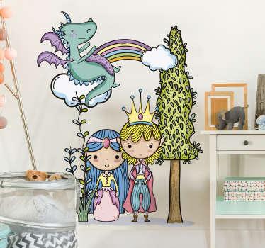 Wandtattoo Märchen Magische Welt Drache Regenbogen