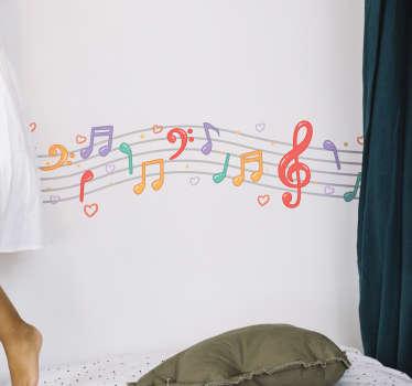 Musikaliska anteckningar vägg klistermärke