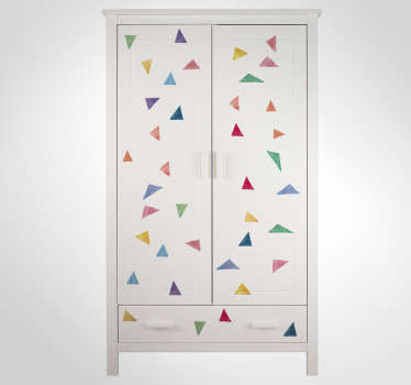 Garnish your home with these fantastic multicoloured triangular stickers! Anti-bubble vinyl. Ideal furniture decor for your cabinet!