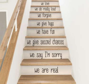 Text Aufkleber Hausregeln Treppe Englisch