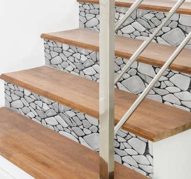 Pegatina para escalera textura piedras