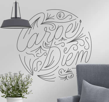 Carpe diem vardagsrum vägg inredning