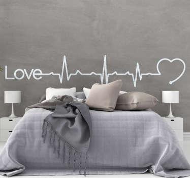 Slaapkamer muursticker elektrocardiogram liefde