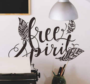 Wandtattoo Jugendzimmer Free Spirit Federn Seele