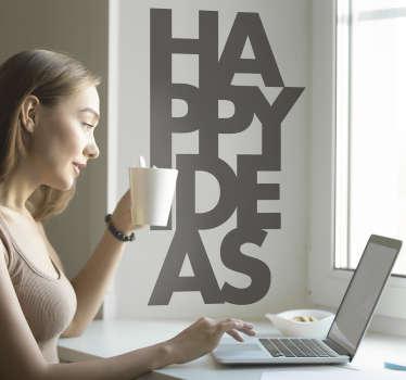Text Aufkleber Happy Ideas Ideen Glück