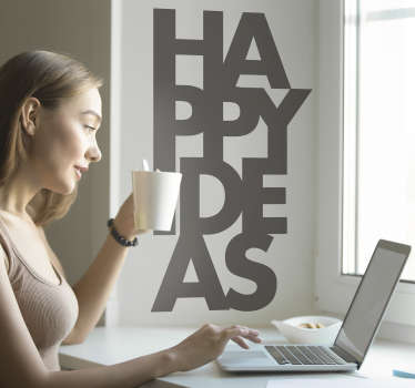 Vinilo pared frase happy ideas