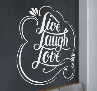 "Naklejka na ścianę ""Live, laugh, love"""