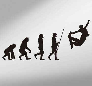 Evolution of Man Snowboard Theme Wall Sticker
