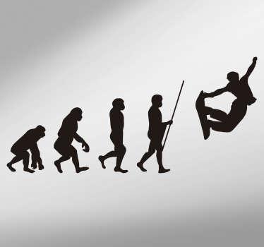 Evolution of Man Snowboard Theme Wall Sticker
