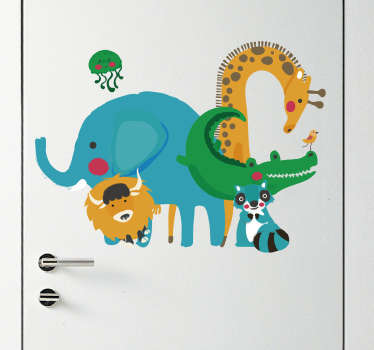 Add some jungle animals to any room with this fantastic decal! Animals make everything better!  Sign up for 10% off. Anti-bubble vinyl.