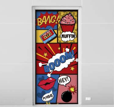 Pop art dør vegg kunst klistremerke