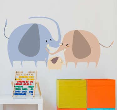 Wandtattoo Zeichnung Elefantenfamilie