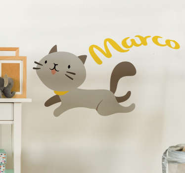 Sticker Enfant Chat avec Prénom Personnalisable