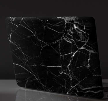 Negru autocolant de marmură pentru laptop