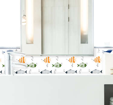 Sticker Mural Frise Poissons Tropicaux