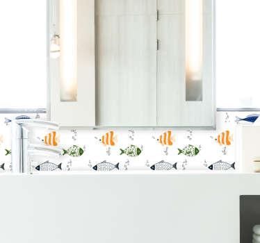 Naklejka na ścianę kolorowe, pływające rybki