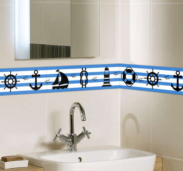 Create a nautical atmosphere in your bathroom with this tile sticker! Perfect wall border decor for your home! Choose your size.