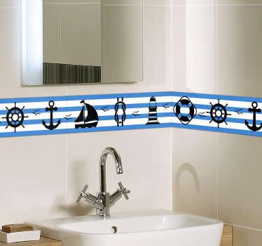 Sticker Salle de Bain Frise Nautique
