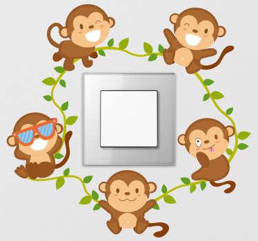 Naklejka z rysunkiem wesołe małpki