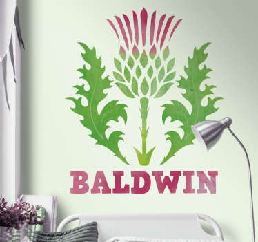 Adorn your walls with the Scottish thistle thanks to this fantastic wall sticker! Thistles are always cool! Available in 50 colours.