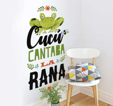 Beautiful nursery rhyme wall sticker designed with the well known children cu cu frog song rhyme. Easy to apply and adhesive.